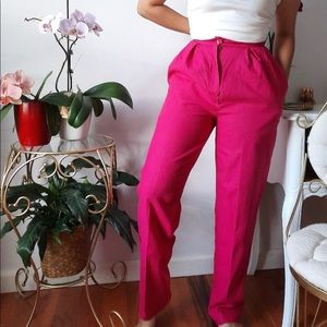 Vintage fuchsia an Linen and cotton blend trousers